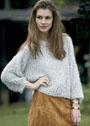 Свободный меланжевый пуловер с сетчатым узором. Спицы