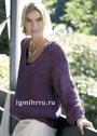 Лиловый пуловер с сетчатым патентным узором. Спицы