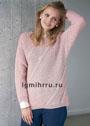 Розовый ребристый пуловер с гладкими диагональными полосками. Спицы