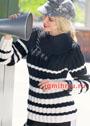 Черно-белый пуловер с полосами разной ширины. Спицы