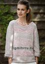 Светлый меланжевый пуловер с рельефными полосами. Спицы
