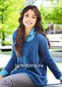 Свободный синий пуловер простой вязки. Спицы