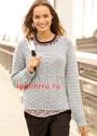Светло-серый шерстяной пуловер с миксом узоров. Спицы