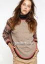 Пуловер-пончо с жаккардовыми рукавами. Спицы