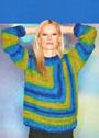 Разноцветный пуловер с оптической диагональю. Спицы