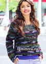 Пуловер крупной вязки с центральной косой. Спицы