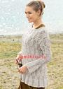 Светлый пуловер с ажурным узором из кос. Спицы