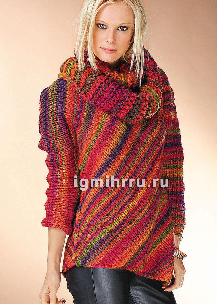 пуловер связанный по диагонали и дополненный шарфом петлей вязание