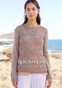 Ажурный бежево-коричневый пуловер. Спицы