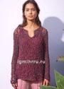 Женственный пуловер с кружевным узором с ромбами. Спицы
