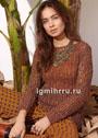 Легкий пуловер, связанный узором с дырочками. Спицы