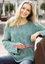 Легкий пуловер мятного цвета с фантазийными ромбами. Спицы