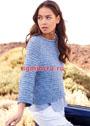 Голубой пуловер-реглан А-силуэта с грядочками. Спицы