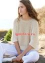Пуловер-реглан кремового оттенка с полупатентными узорами. Спицы