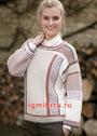 Прямой пуловер в рубчик, с комбинацией полос в розово-бежевых тонах. Спицы