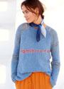Серо-синий пуловер с узорными рукавами. Спицы