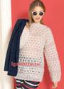 Белый мохеровый пуловер с ажурными полосами. Спицы