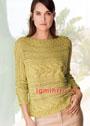 Желто-зеленый узорчатый пуловер, связанный поперек. Спицы