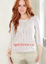 Белый пуловер с ажурными полосками и ромбами. Спицы