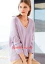 Лаконичный лиловый пуловер свободного фасона. Спицы