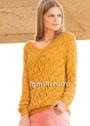 Легкий желтый пуловер с ажурным узором. Спицы