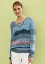Пуловер со шнуровкой, связанный полупатентным узором. Спицы