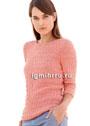 Легкий розовый пуловер с простым структурным узором. Спицы