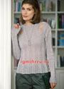 Льняной пуловер с нитяными протяжками на плечах. Спицы