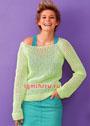 Легкий сетчатый пуловер салатового цвета. Спицы