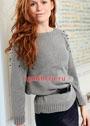 Пуловер-реглан с отделкой из бусин. Спицы
