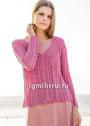 Розовый летний пуловер с ажурным узором с косами. Спицы