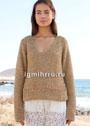 Золотистый летний пуловер с полосой из вытянутых петель. Спицы