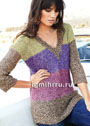 Удлиненный пуловер из разноцветной меланжевой пряжи. Спицы