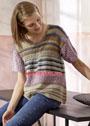 Разноцветный летний пуловер с ажурными полосами. Спицы