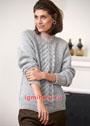 Серый пуловер с широкой рельефной полосой. Спицы