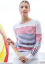 Легкий белый пуловер с разноцветными полосками. Спицы