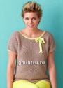 Легкий бежевый пуловер с бантиком. Спицы