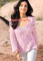 Современная романтика. Розовый пуловер с сочетанием узоров. Спицы