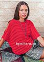 Красный пуловер с полосами из спущенных петель. Спицы