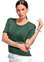 Лаконичный темно-зеленый пуловер с короткими рукавами. Спицы