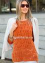 Ажурный оранжевый пуловер с рукавами 3/4. Спицы