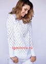 Романтичный белый пуловер с ажурными ромбами. Спицы