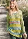 Шелковый ажурный пуловер в двухцветную полоску. Спицы