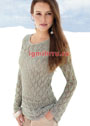 Романтичный светло-серый пуловер из ажурных узоров. Спицы