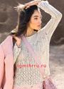 Легкий пуловер цвета льна с ажурным узором. Спицы