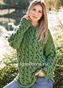 Зеленый пуловер с узором из кос. Спицы