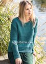 Иссиня-зеленый пуловер с сочетанием узоров. Спицы
