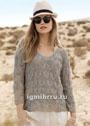 Льняной серо-бежевый пуловер с ажурным узором. Спицы