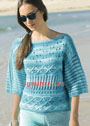 Лазурно-голубой ажурный пуловер. Спицы