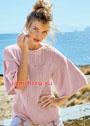 Узорчатый розовый пуловер с широкими рукавами. Спицы